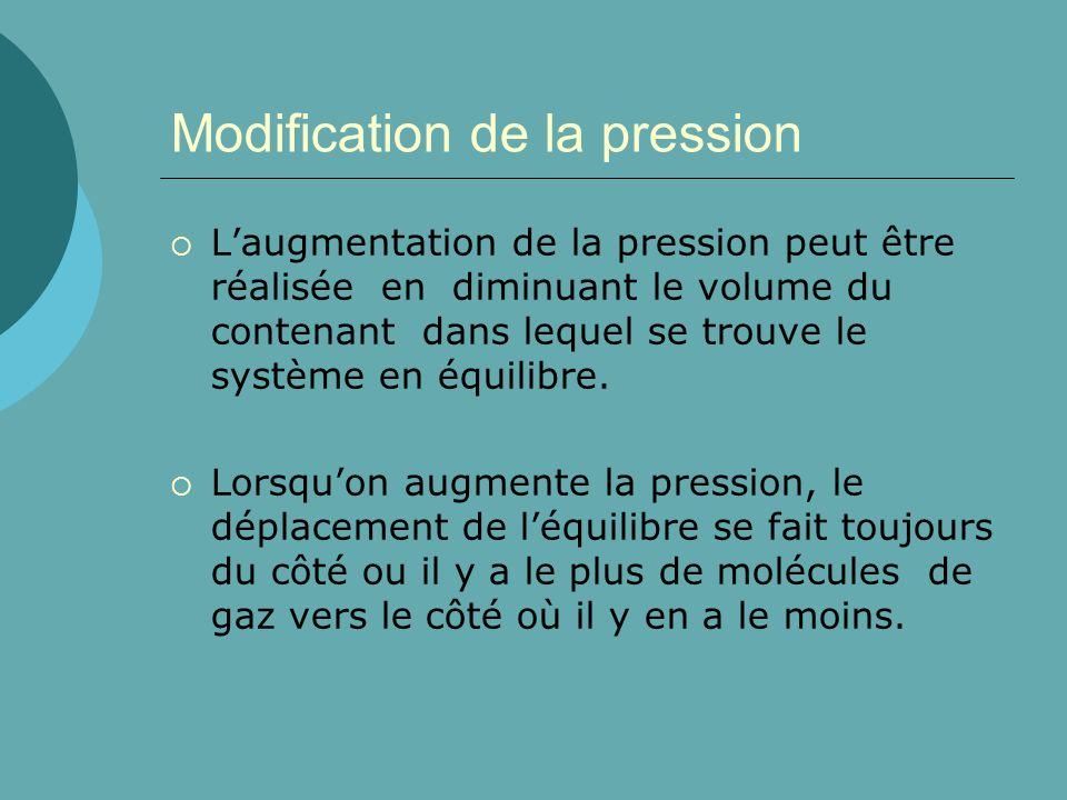 Modification de la pression Laugmentation de la pression peut être réalisée en diminuant le volume du contenant dans lequel se trouve le système en éq
