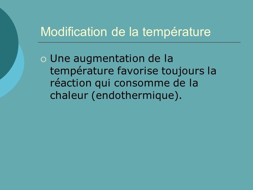 Modification de la température Une augmentation de la température favorise toujours la réaction qui consomme de la chaleur (endothermique).