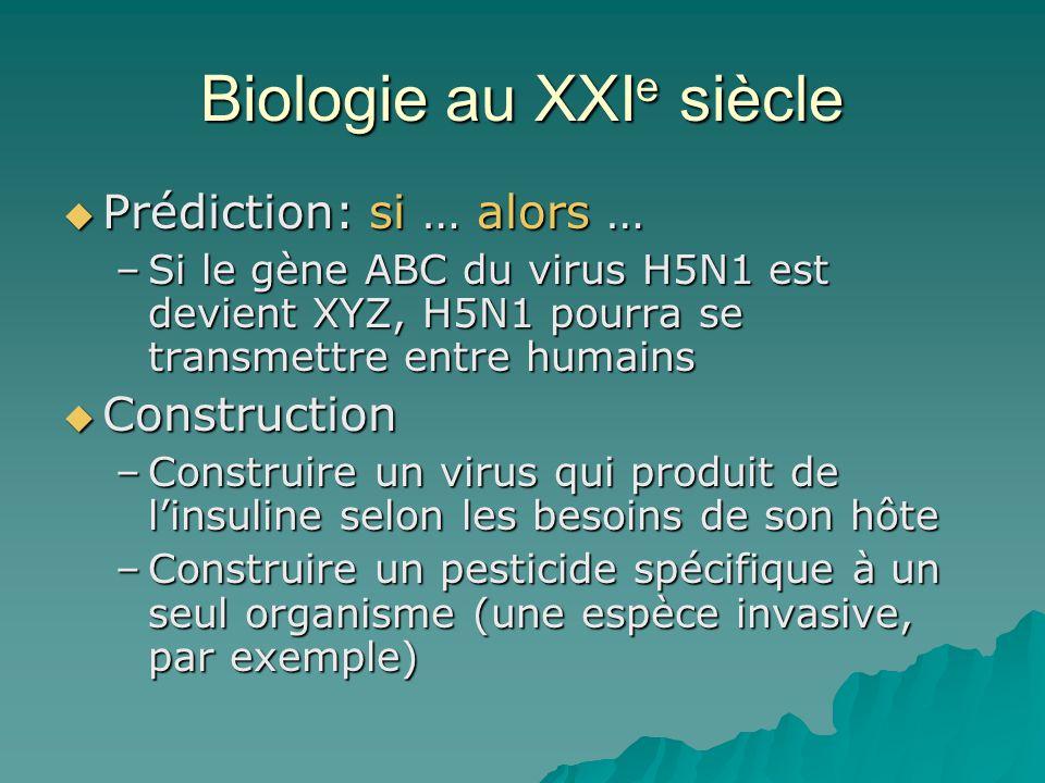 Biologie au XXI e siècle Prédiction: si … alors … Prédiction: si … alors … –Si le gène ABC du virus H5N1 est devient XYZ, H5N1 pourra se transmettre entre humains Construction Construction –Construire un virus qui produit de linsuline selon les besoins de son hôte –Construire un pesticide spécifique à un seul organisme (une espèce invasive, par exemple)