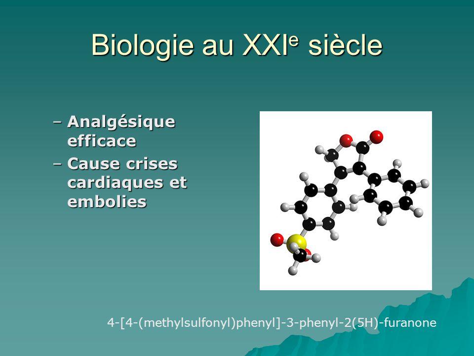 Biologie au XXI e siècle –Analgésique efficace –Cause crises cardiaques et embolies 4-[4-(methylsulfonyl)phenyl]-3-phenyl-2(5H)-furanone