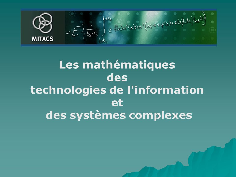 Les mathématiques des technologies de l'information et des systèmes complexes