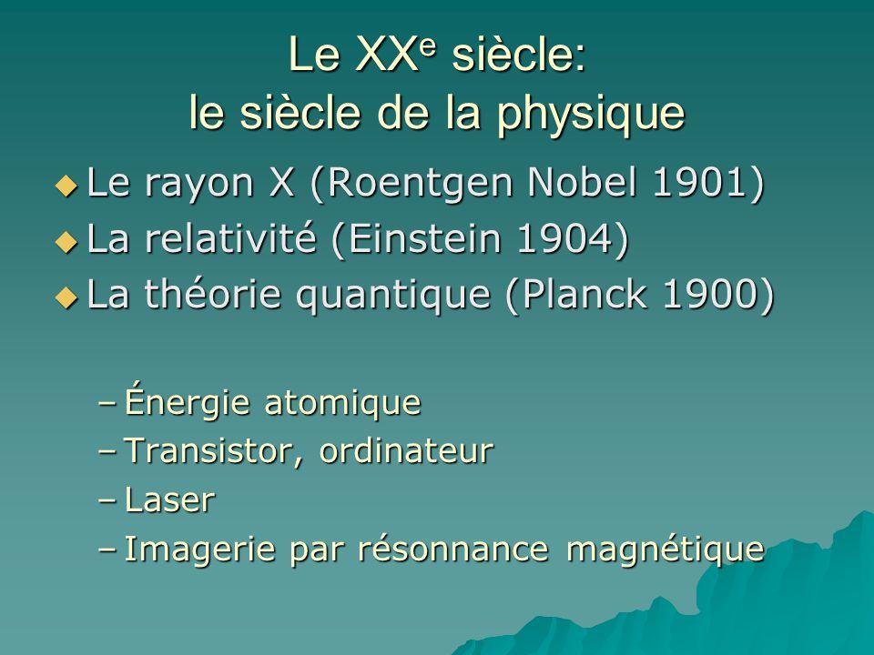 Le XX e siècle: le siècle de la physique Le rayon X (Roentgen Nobel 1901) Le rayon X (Roentgen Nobel 1901) La relativité (Einstein 1904) La relativité (Einstein 1904) La théorie quantique (Planck 1900) La théorie quantique (Planck 1900) –Énergie atomique –Transistor, ordinateur –Laser –Imagerie par résonnance magnétique