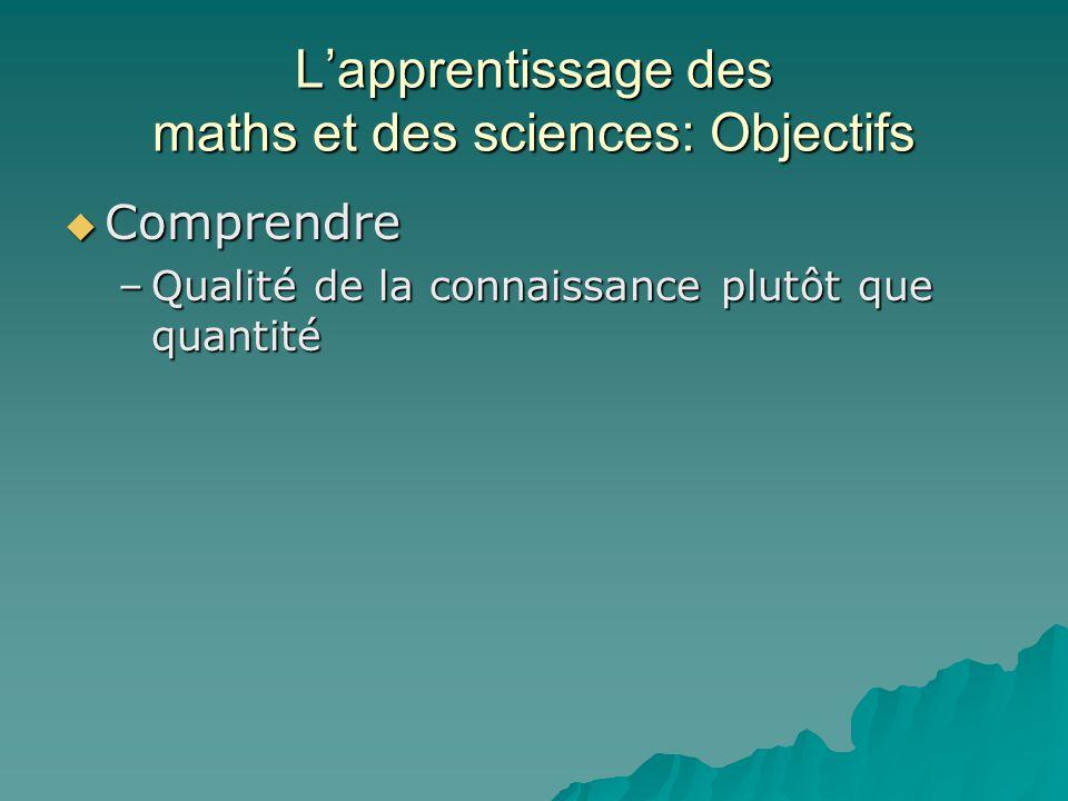 Lapprentissage des maths et des sciences: Objectifs Comprendre Comprendre –Qualité de la connaissance plutôt que quantité