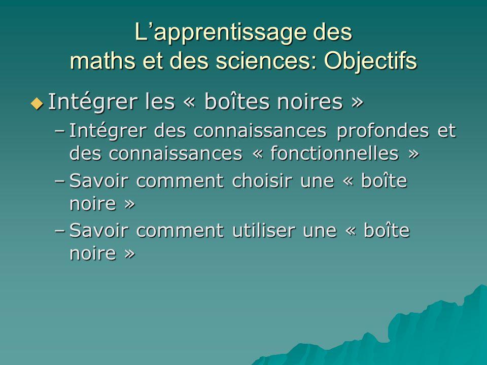 Lapprentissage des maths et des sciences: Objectifs Intégrer les « boîtes noires » Intégrer les « boîtes noires » –Intégrer des connaissances profonde