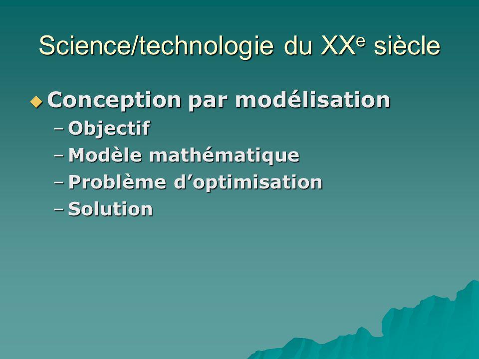 Science/technologie du XX e siècle Conception par modélisation Conception par modélisation –Objectif –Modèle mathématique –Problème doptimisation –Sol
