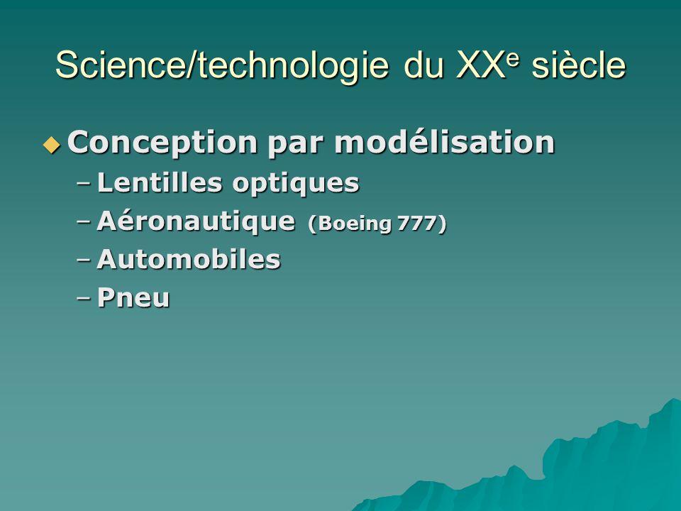 Science/technologie du XX e siècle Conception par modélisation Conception par modélisation –Lentilles optiques –Aéronautique (Boeing 777) –Automobiles –Pneu