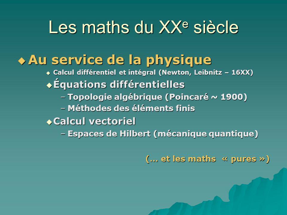 Les maths du XX e siècle Au service de la physique Au service de la physique Calcul différentiel et intégral (Newton, Leibnitz – 16XX) Calcul différentiel et intégral (Newton, Leibnitz – 16XX) Équations différentielles Équations différentielles –Topologie algébrique (Poincaré ~ 1900) –Méthodes des éléments finis Calcul vectoriel Calcul vectoriel –Espaces de Hilbert (mécanique quantique) (… et les maths « pures »)