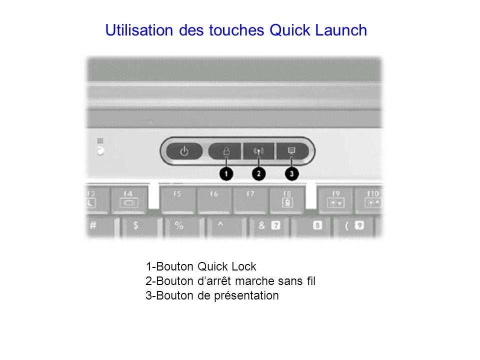 Utilisation des touches Quick Launch 1-Bouton Quick Lock 2-Bouton darrêt marche sans fil 3-Bouton de présentation