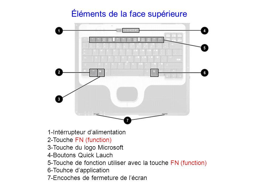 Éléments de la face supérieure 1-Intérrupteur dalimentation 2-Touche FN (function) 3-Touche du logo Microsoft 4-Boutons Quick Lauch 5-Touche de foncti