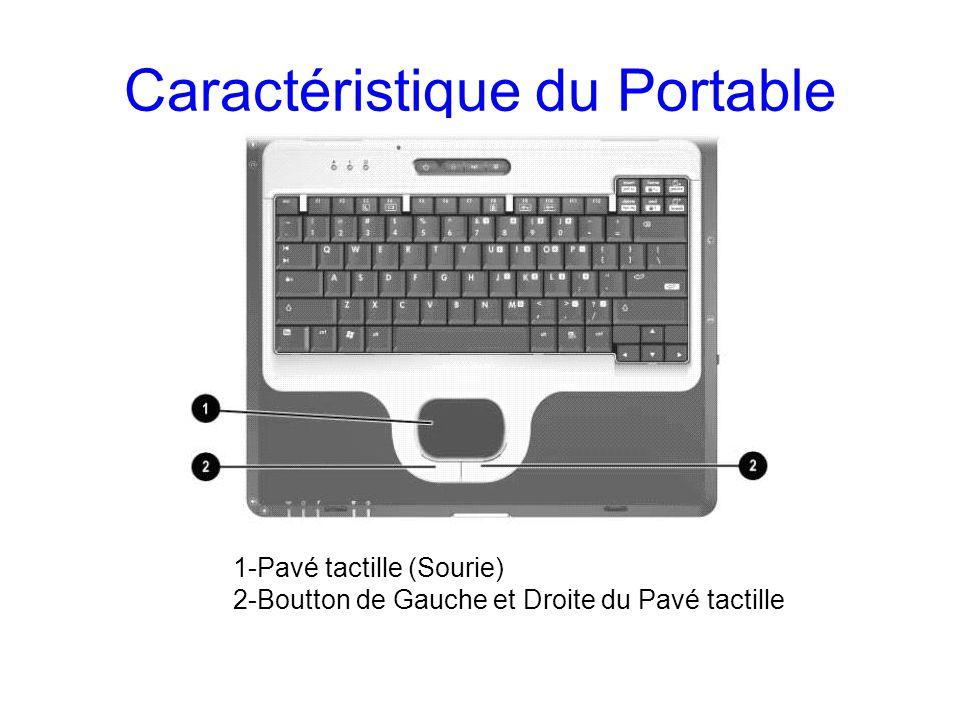 Caractéristique du Portable 1-Pavé tactille (Sourie) 2-Boutton de Gauche et Droite du Pavé tactille