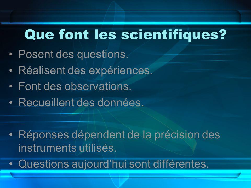 Que font les scientifiques? Posent des questions. Réalisent des expériences. Font des observations. Recueillent des données. Réponses dépendent de la