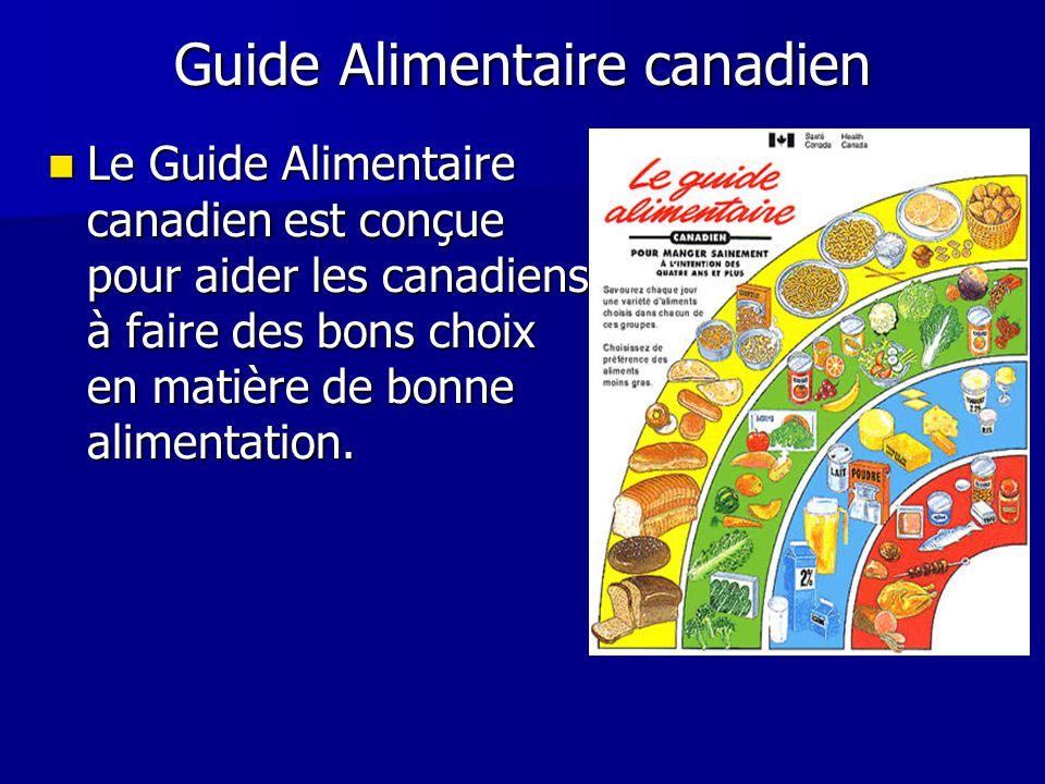 Guide Alimentaire canadien Le Guide Alimentaire canadien est conçue pour aider les canadiens à faire des bons choix en matière de bonne alimentation.