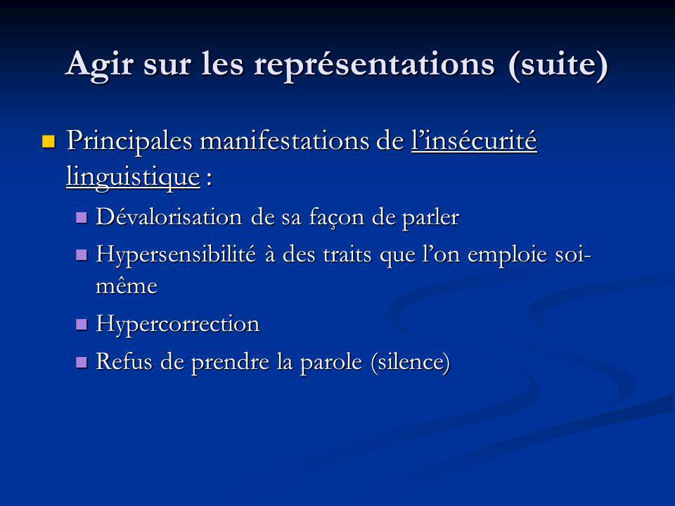 Agir sur les représentations (suite) Principales manifestations de linsécurité linguistique : Principales manifestations de linsécurité linguistique :