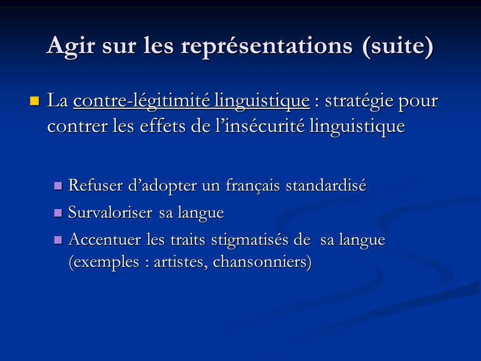 Agir sur les représentations (suite) La contre-légitimité linguistique : stratégie pour contrer les effets de linsécurité linguistique La contre-légit