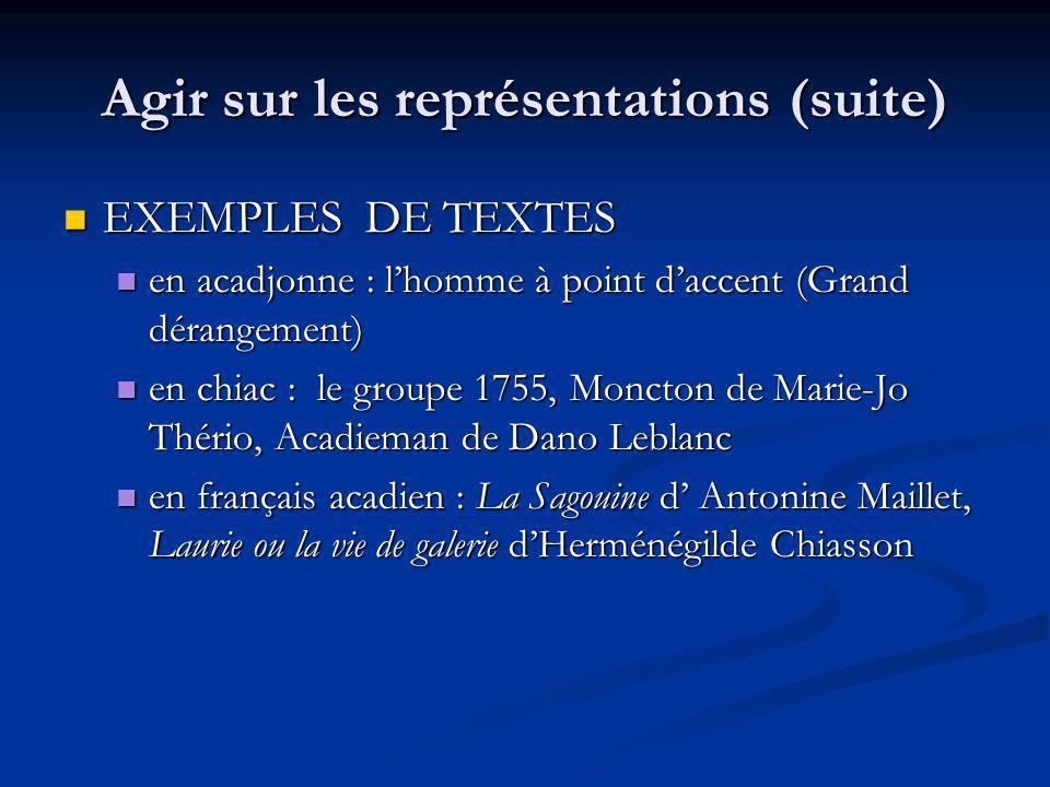 Agir sur les représentations (suite) EXEMPLES DE TEXTES EXEMPLES DE TEXTES en acadjonne : lhomme à point daccent (Grand dérangement) en acadjonne : lhomme à point daccent (Grand dérangement) en chiac : le groupe 1755, Moncton de Marie-Jo Thério, Acadieman de Dano Leblanc en chiac : le groupe 1755, Moncton de Marie-Jo Thério, Acadieman de Dano Leblanc en français acadien : La Sagouine d Antonine Maillet, Laurie ou la vie de galerie dHerménégilde Chiasson en français acadien : La Sagouine d Antonine Maillet, Laurie ou la vie de galerie dHerménégilde Chiasson