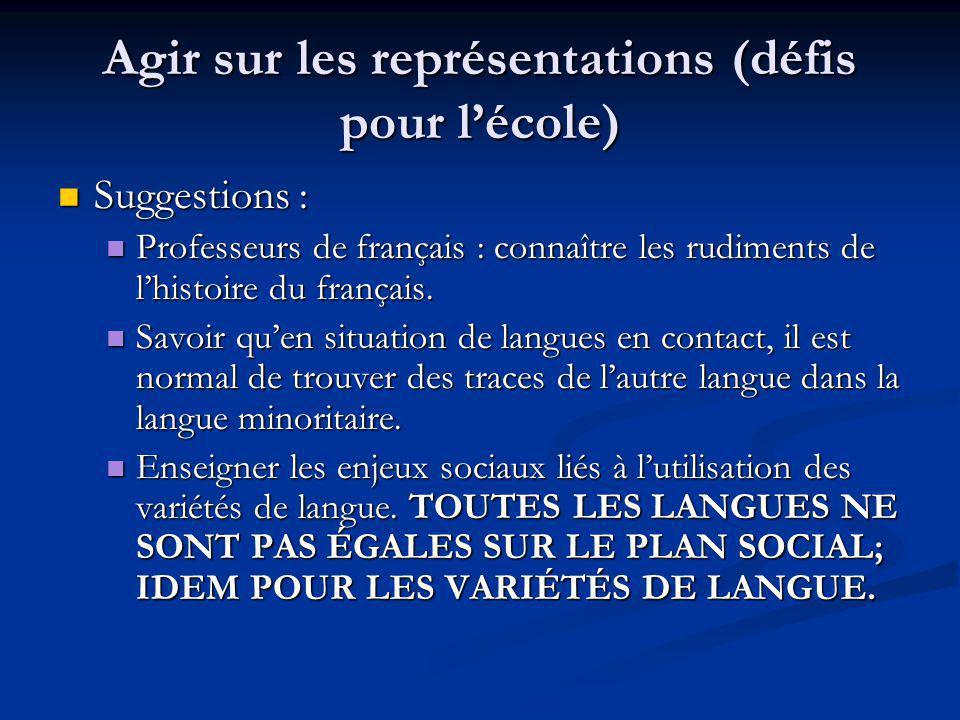 Agir sur les représentations (défis pour lécole) Suggestions : Suggestions : Professeurs de français : connaître les rudiments de lhistoire du français.