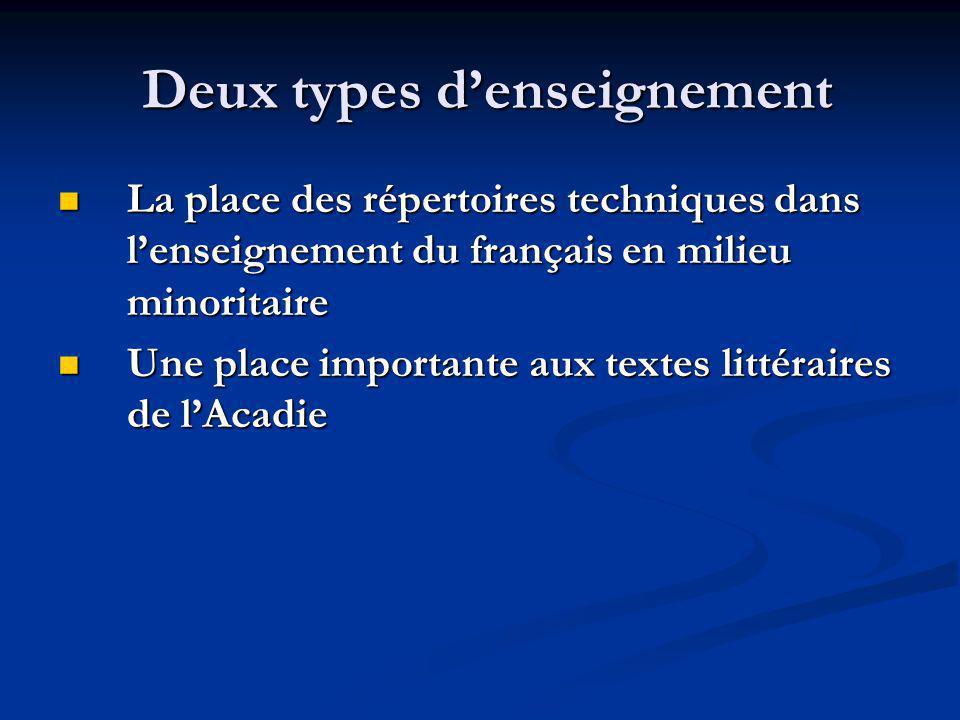 Deux types denseignement Deux types denseignement La place des répertoires techniques dans lenseignement du français en milieu minoritaire La place de