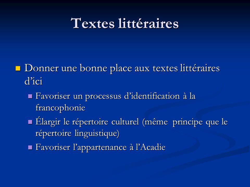 Textes littéraires Donner une bonne place aux textes littéraires dici Donner une bonne place aux textes littéraires dici Favoriser un processus dident