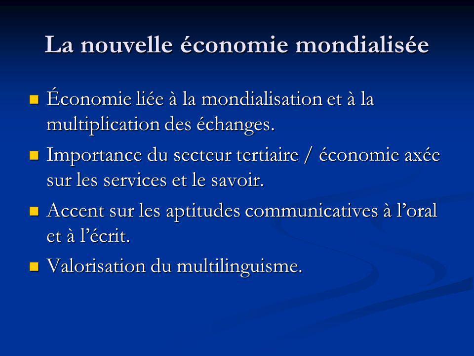 La nouvelle économie mondialisée Économie liée à la mondialisation et à la multiplication des échanges.