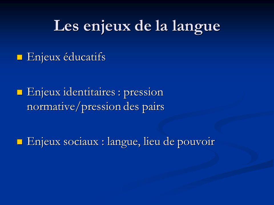 Les enjeux de la langue Enjeux éducatifs Enjeux éducatifs Enjeux identitaires : pression normative/pression des pairs Enjeux identitaires : pression n