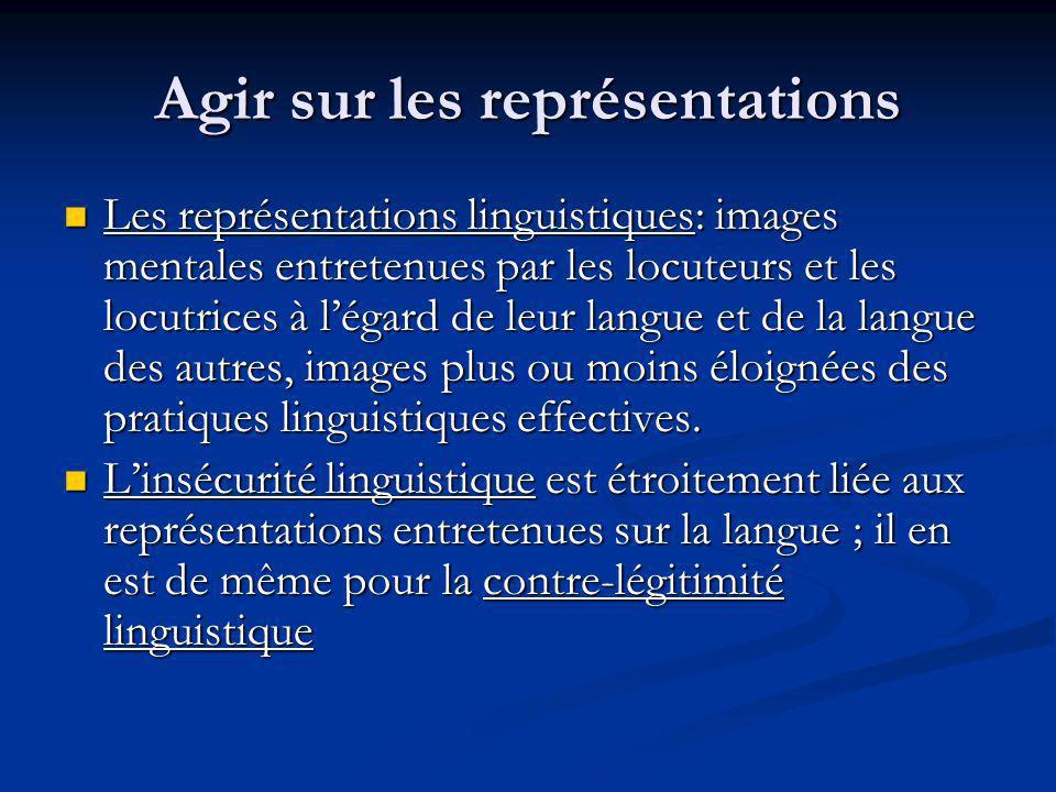Agir sur les représentations Les représentations linguistiques: images mentales entretenues par les locuteurs et les locutrices à légard de leur langue et de la langue des autres, images plus ou moins éloignées des pratiques linguistiques effectives.