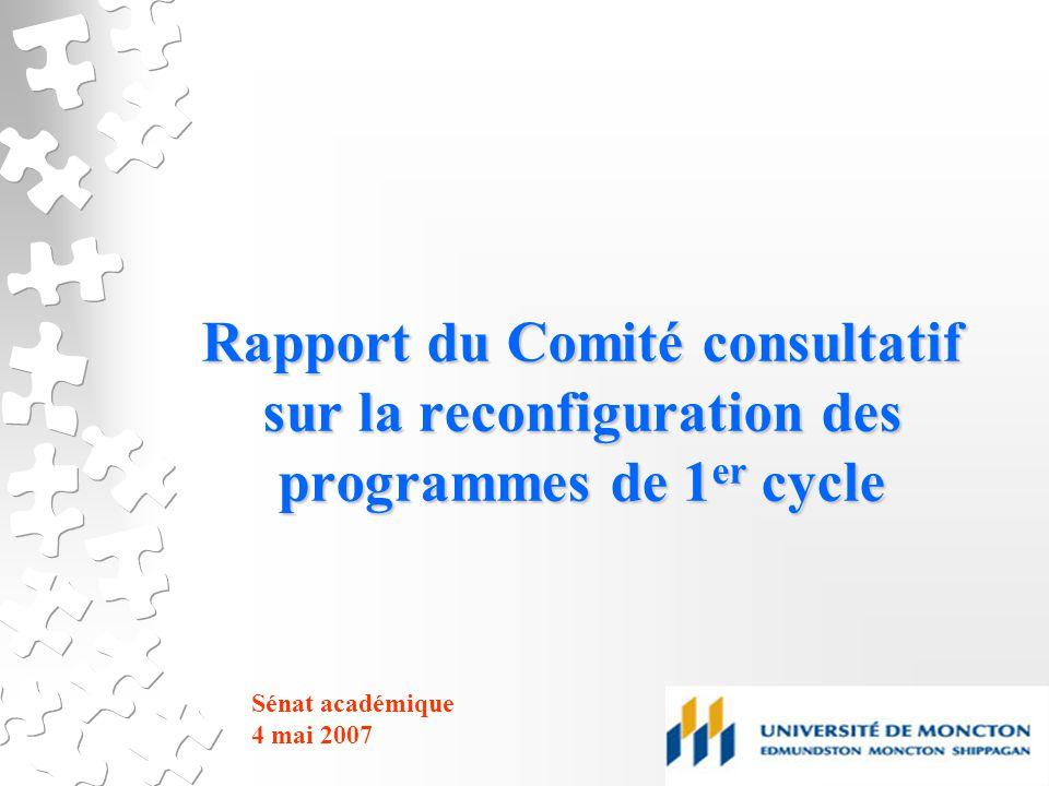 Rapport du Comité consultatif sur la reconfiguration des programmes de 1 er cycle Sénat académique 4 mai 2007