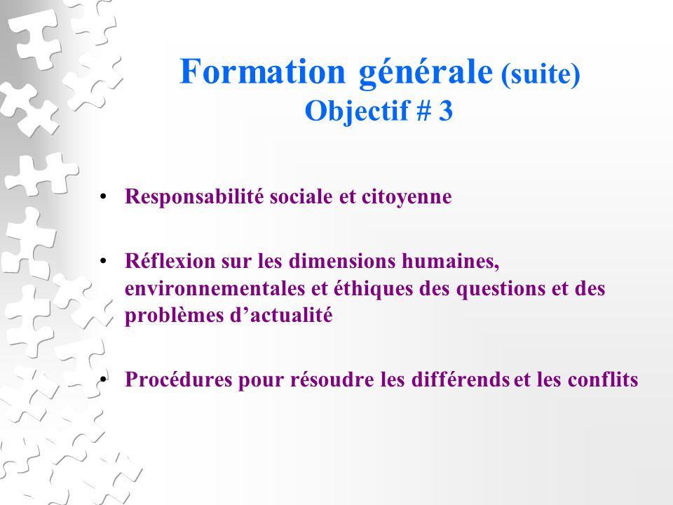 Formation générale (suite) Objectif # 3 Responsabilité sociale et citoyenne Réflexion sur les dimensions humaines, environnementales et éthiques des questions et des problèmes dactualité Procédures pour résoudre les différends et les conflits