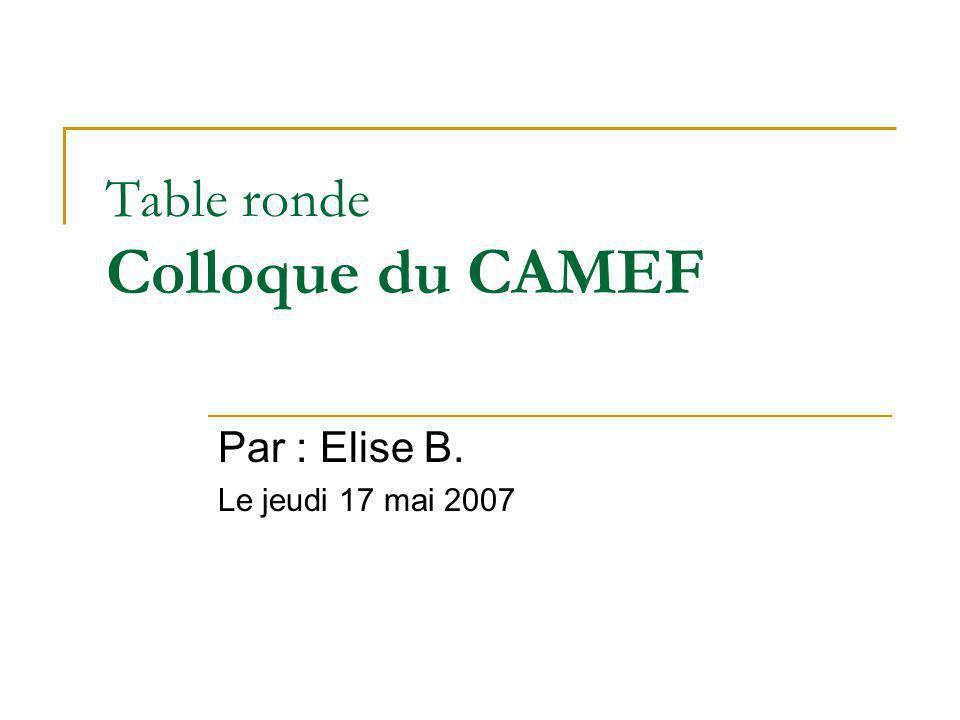 Table ronde Colloque du CAMEF Par : Elise B. Le jeudi 17 mai 2007