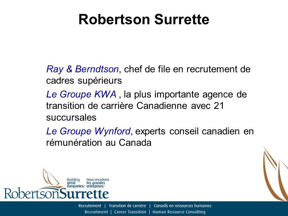 Robertson Surrette Conseil en RH Mario Patenaude – ancien v-p rh - Poste Canada, Pfyser Canada & Europe, Highliner.