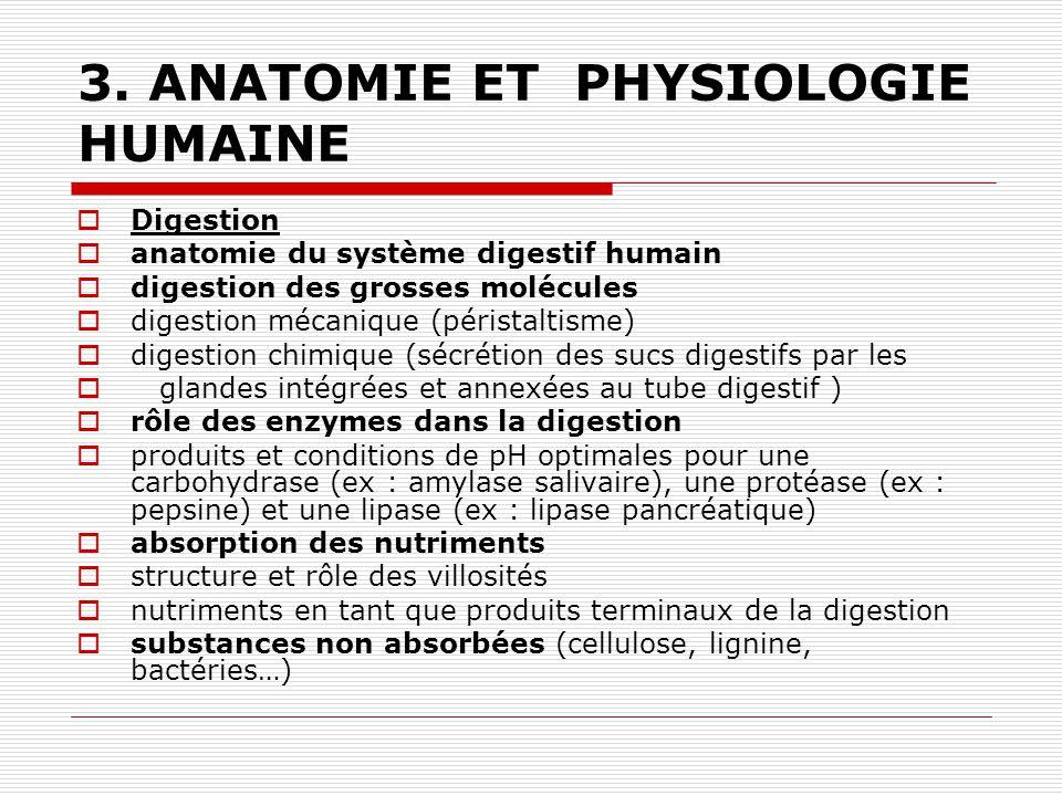3. ANATOMIE ET PHYSIOLOGIE HUMAINE Digestion anatomie du système digestif humain digestion des grosses molécules digestion mécanique (péristaltisme) d