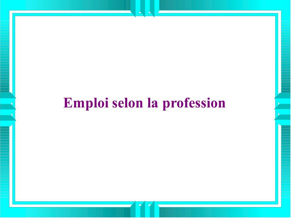 Emploi selon la profession