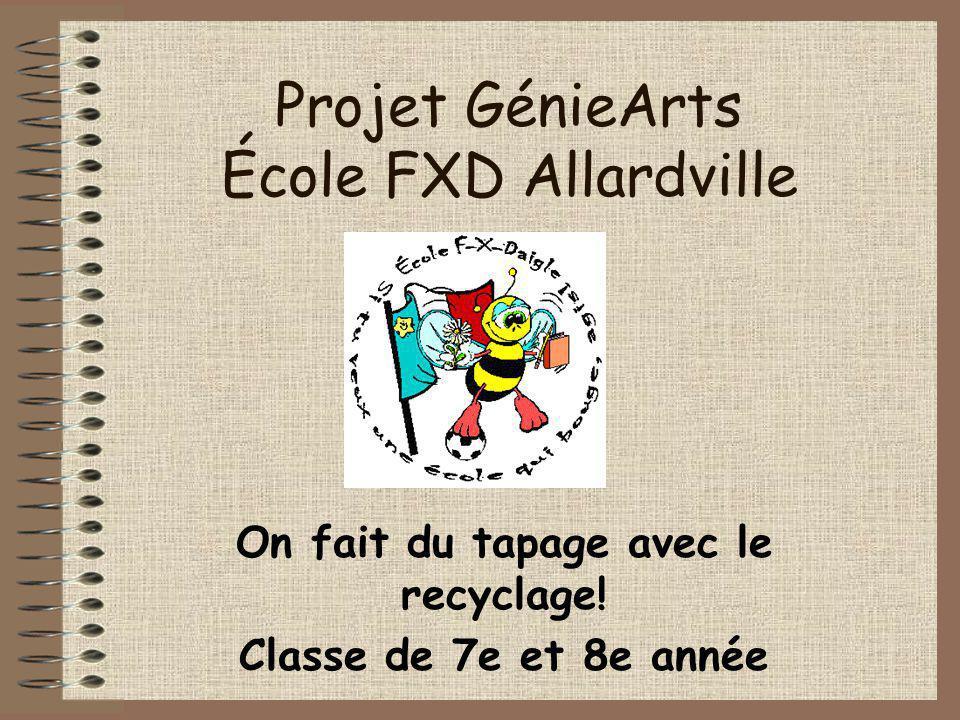 Projet GénieArts École FXD Allardville On fait du tapage avec le recyclage.