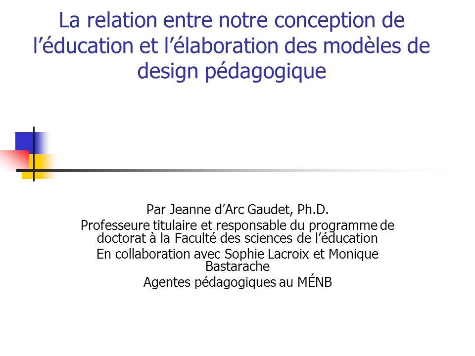 La relation entre notre conception de léducation et lélaboration des modèles de design pédagogique Par Jeanne dArc Gaudet, Ph.D.