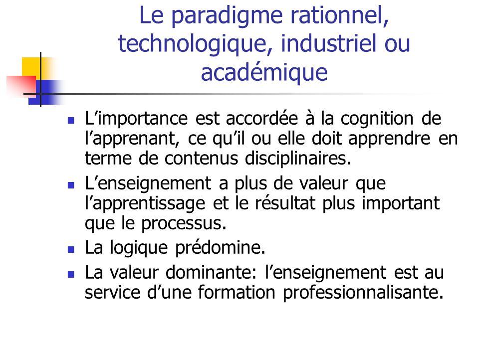 Le paradigme rationnel, technologique, industriel ou académique Limportance est accordée à la cognition de lapprenant, ce quil ou elle doit apprendre en terme de contenus disciplinaires.