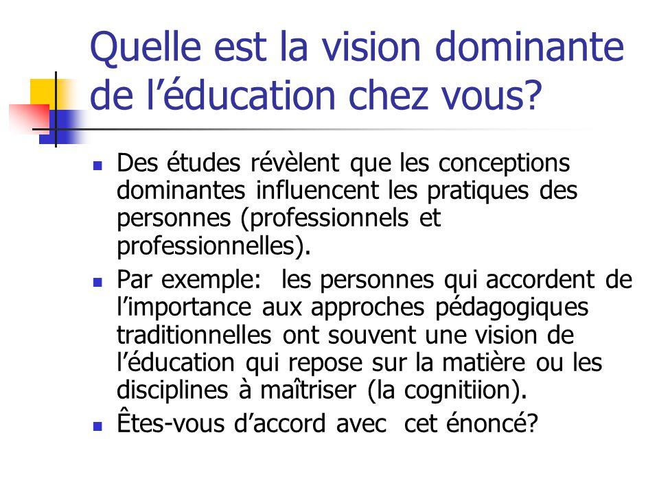 Quelle est la vision dominante de léducation chez vous? Des études révèlent que les conceptions dominantes influencent les pratiques des personnes (pr