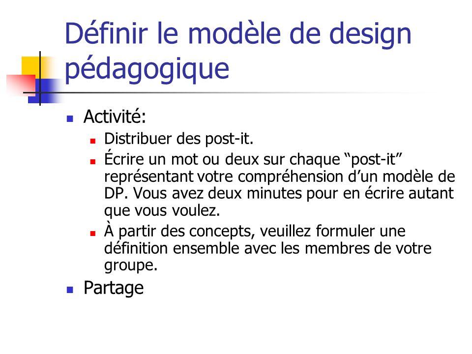 Définir le modèle de design pédagogique Activité: Distribuer des post-it. Écrire un mot ou deux sur chaque post-it représentant votre compréhension du