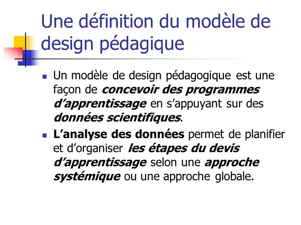 Une définition du modèle de design pédagique Un modèle de design pédagogique est une façon de concevoir des programmes dapprentissage en sappuyant sur