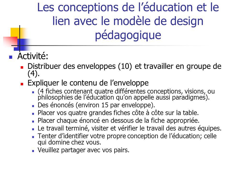 Les conceptions de léducation et le lien avec le modèle de design pédagogique Activité: Distribuer des enveloppes (10) et travailler en groupe de (4).