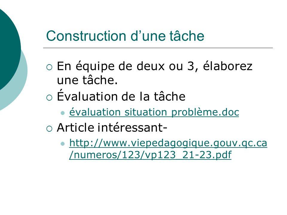 Construction dune tâche En équipe de deux ou 3, élaborez une tâche. Évaluation de la tâche évaluation situation problème.doc Article intéressant- http