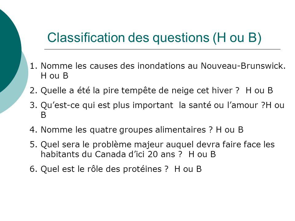 Classification des questions (H ou B) 1.Nomme les causes des inondations au Nouveau-Brunswick. H ou B 2.Quelle a été la pire tempête de neige cet hive