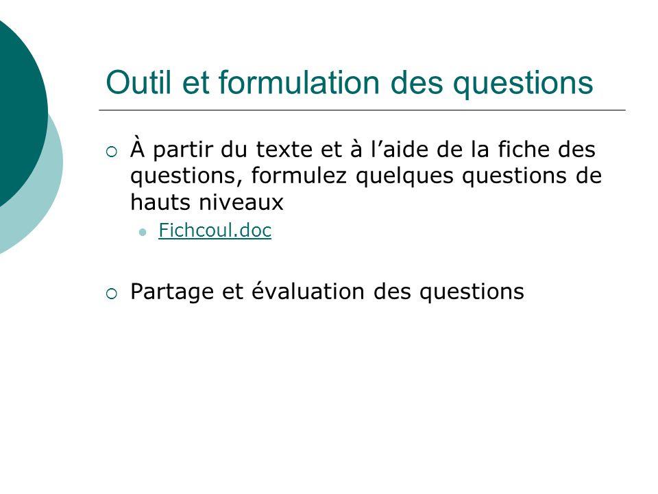 Outil et formulation des questions À partir du texte et à laide de la fiche des questions, formulez quelques questions de hauts niveaux Fichcoul.doc P