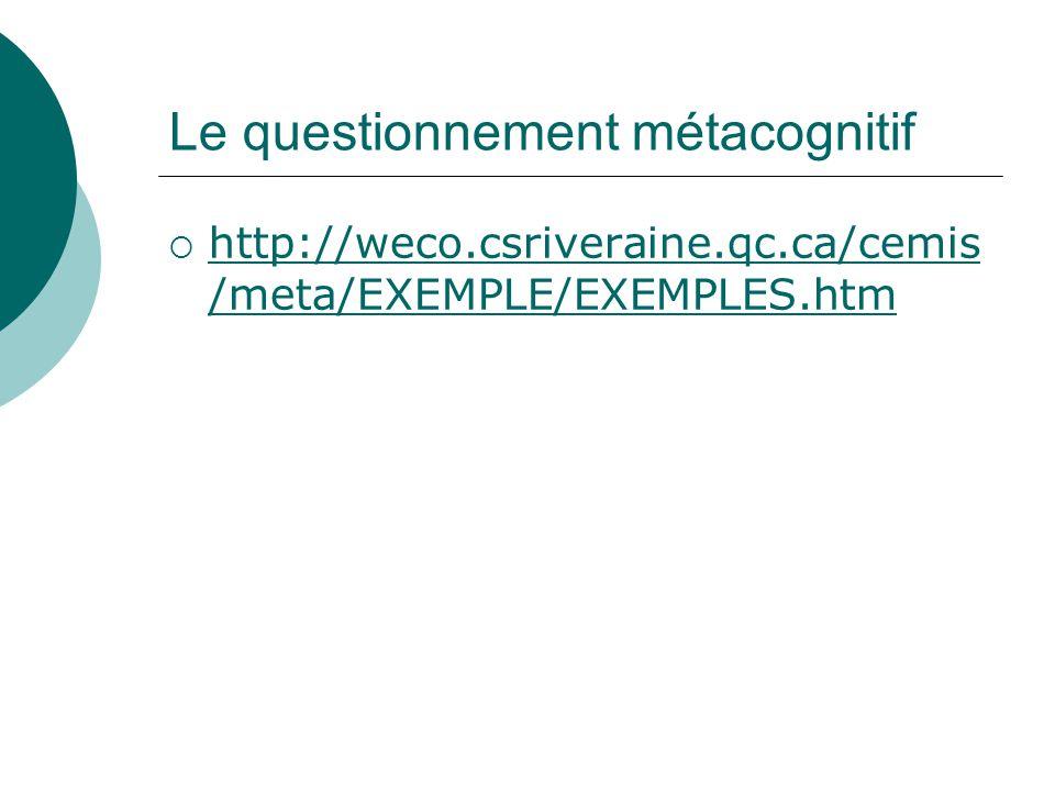 Le questionnement métacognitif http://weco.csriveraine.qc.ca/cemis /meta/EXEMPLE/EXEMPLES.htm http://weco.csriveraine.qc.ca/cemis /meta/EXEMPLE/EXEMPL