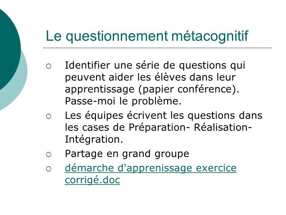 Le questionnement métacognitif Identifier une série de questions qui peuvent aider les élèves dans leur apprentissage (papier conférence). Passe-moi l