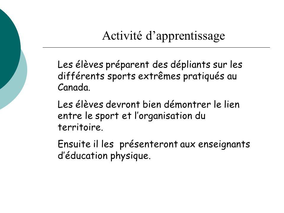 Les élèves préparent des dépliants sur les différents sports extrêmes pratiqués au Canada. Les élèves devront bien démontrer le lien entre le sport et