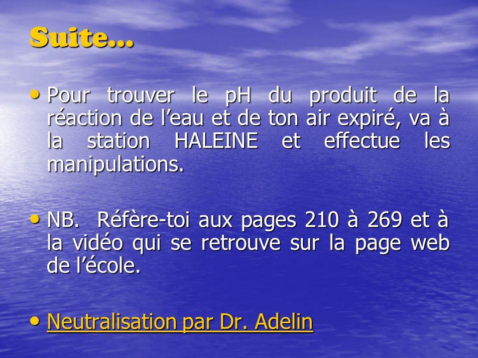 Suite… Pour trouver le pH du produit de la réaction de leau et de ton air expiré, va à la station HALEINE et effectue les manipulations. Pour trouver