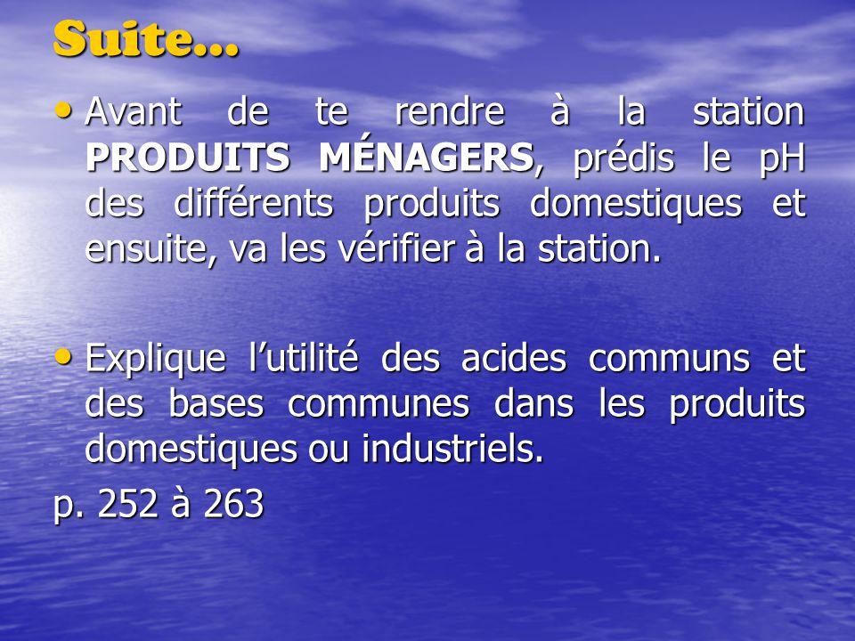 Suite… Avant de te rendre à la station PRODUITS MÉNAGERS, prédis le pH des différents produits domestiques et ensuite, va les vérifier à la station. A