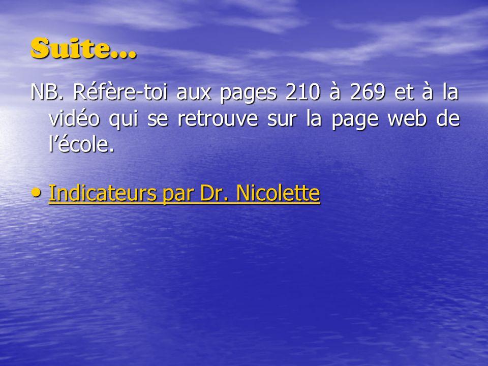 NB. Réfère-toi aux pages 210 à 269 et à la vidéo qui se retrouve sur la page web de lécole. Indicateurs par Dr. Nicolette Indicateurs par Dr. Nicolett