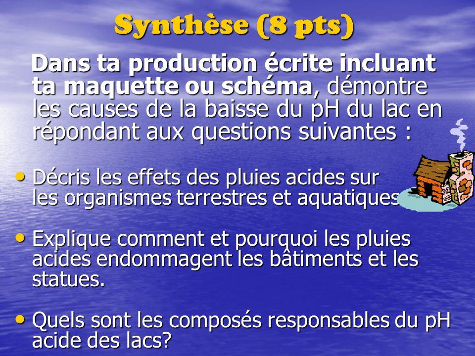 Synthèse (8 pts) Dans ta production écrite incluant ta maquette ou schéma, démontre les causes de la baisse du pH du lac en répondant aux questions su
