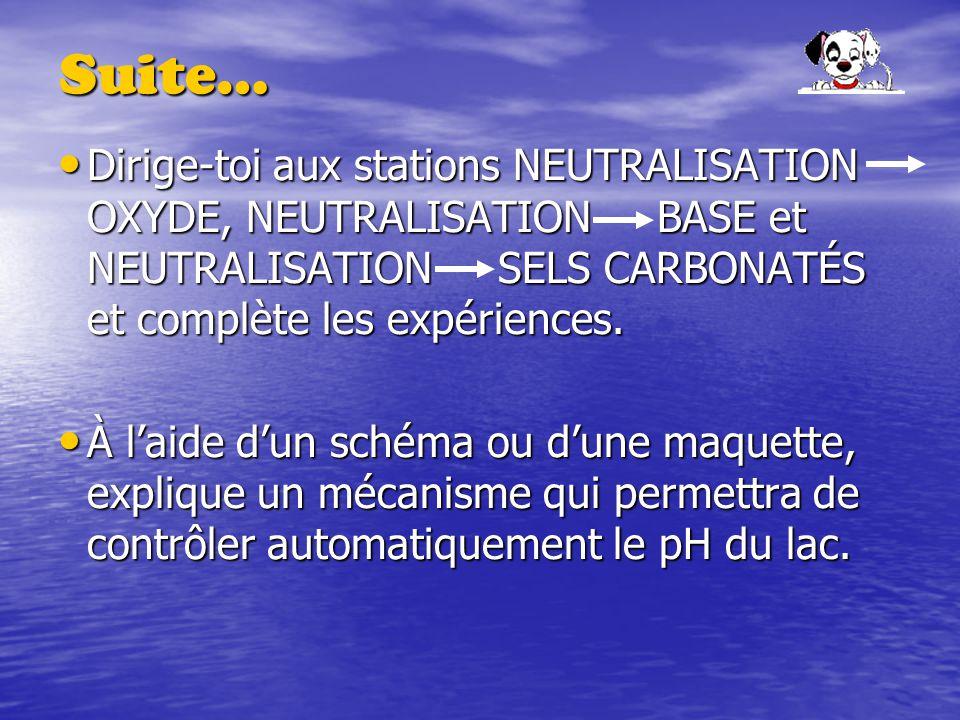 Suite… Dirige-toi aux stations NEUTRALISATION OXYDE, NEUTRALISATION BASE et NEUTRALISATION SELS CARBONATÉS et complète les expériences.