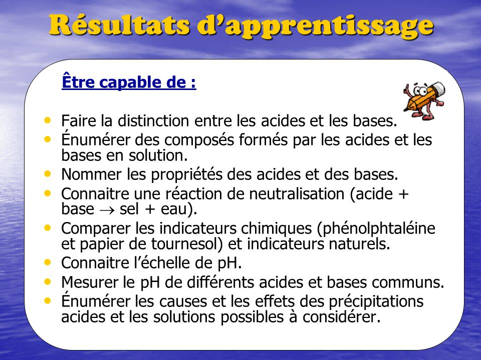 Résultats dapprentissage Être capable de : Faire la distinction entre les acides et les bases. Énumérer des composés formés par les acides et les base